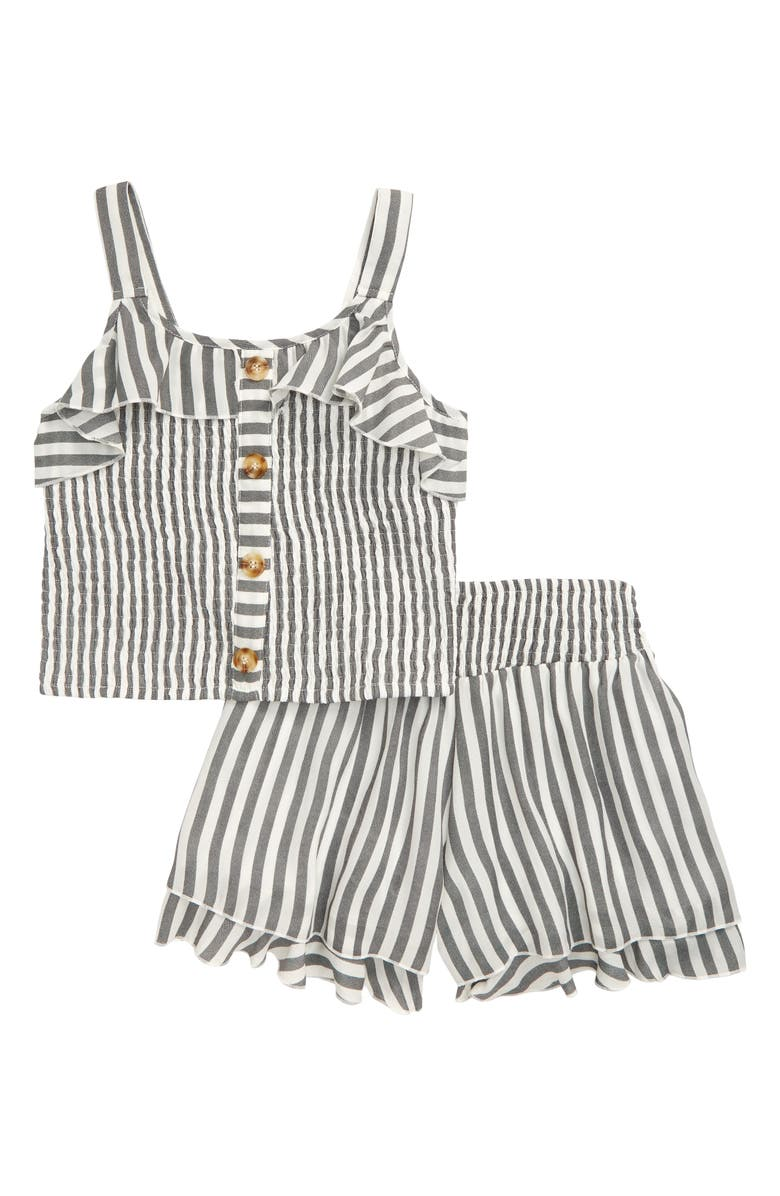 TRULY ME Smocked Top and Shorts Set, Main, color, 100