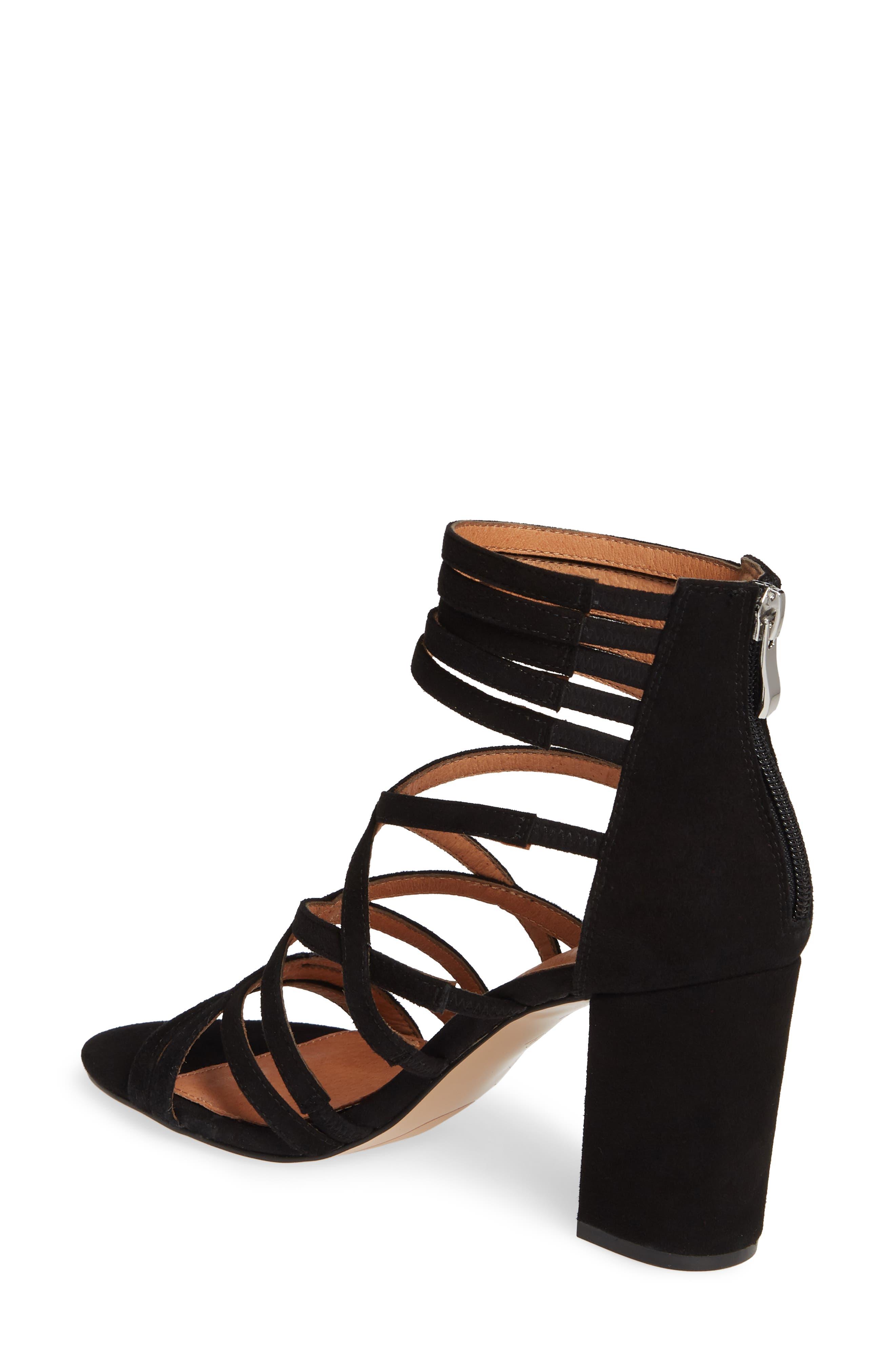 ,                             Strappy Block Heel Sandal,                             Alternate thumbnail 2, color,                             BLACK SUEDE