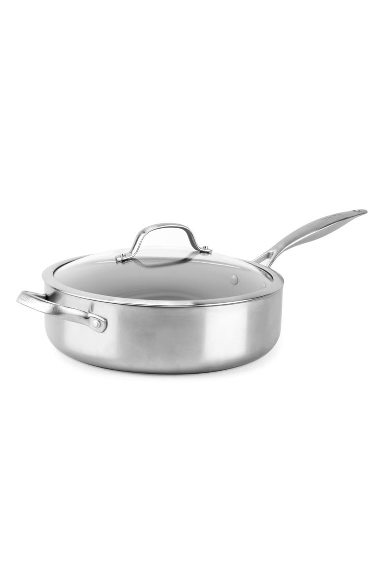 GREENPAN Venice Pro 5-Quart Stainless Steel Ceramic Nonstick Saute Pan with Lid, Main, color, STAINLESS STEEL