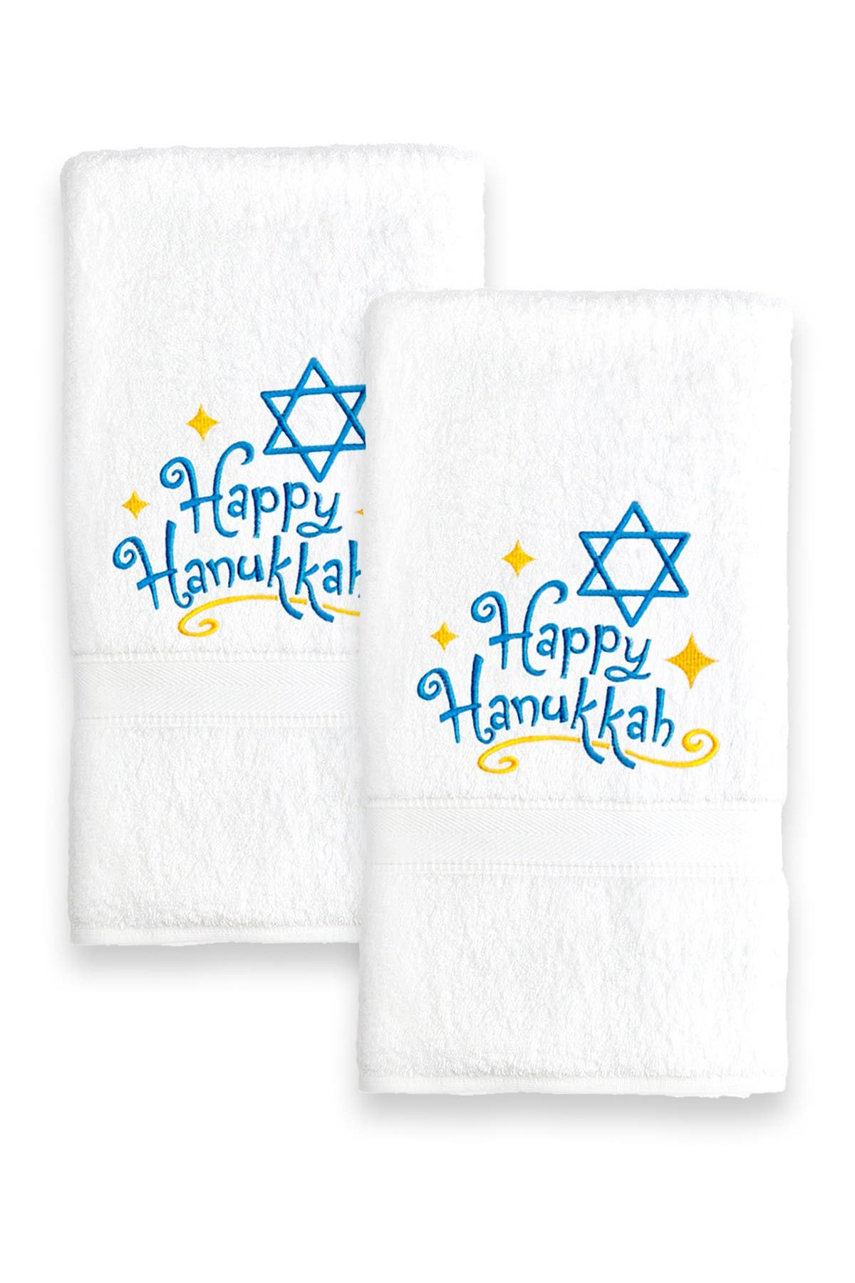 Image of LINUM TOWELS Happy Hanukkah Embroidered Hand Towels - Set of 2