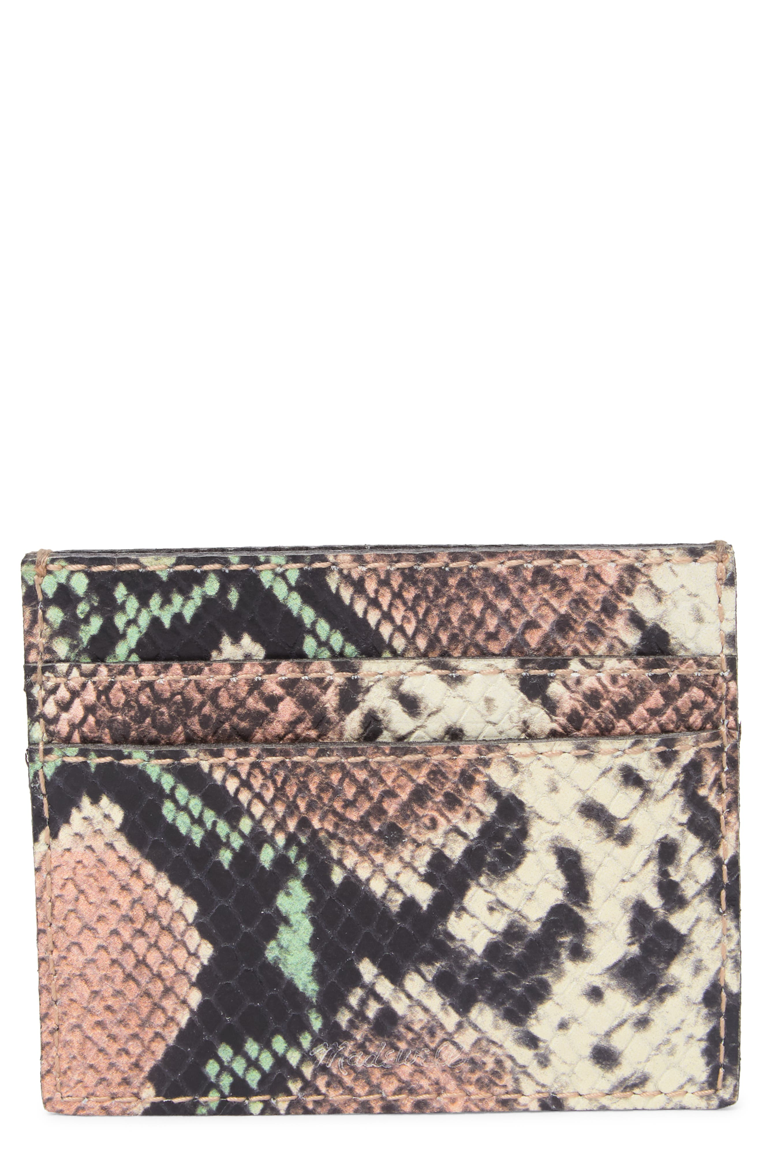 Image of Madewell Snake Skin Embossed Leather Card Case