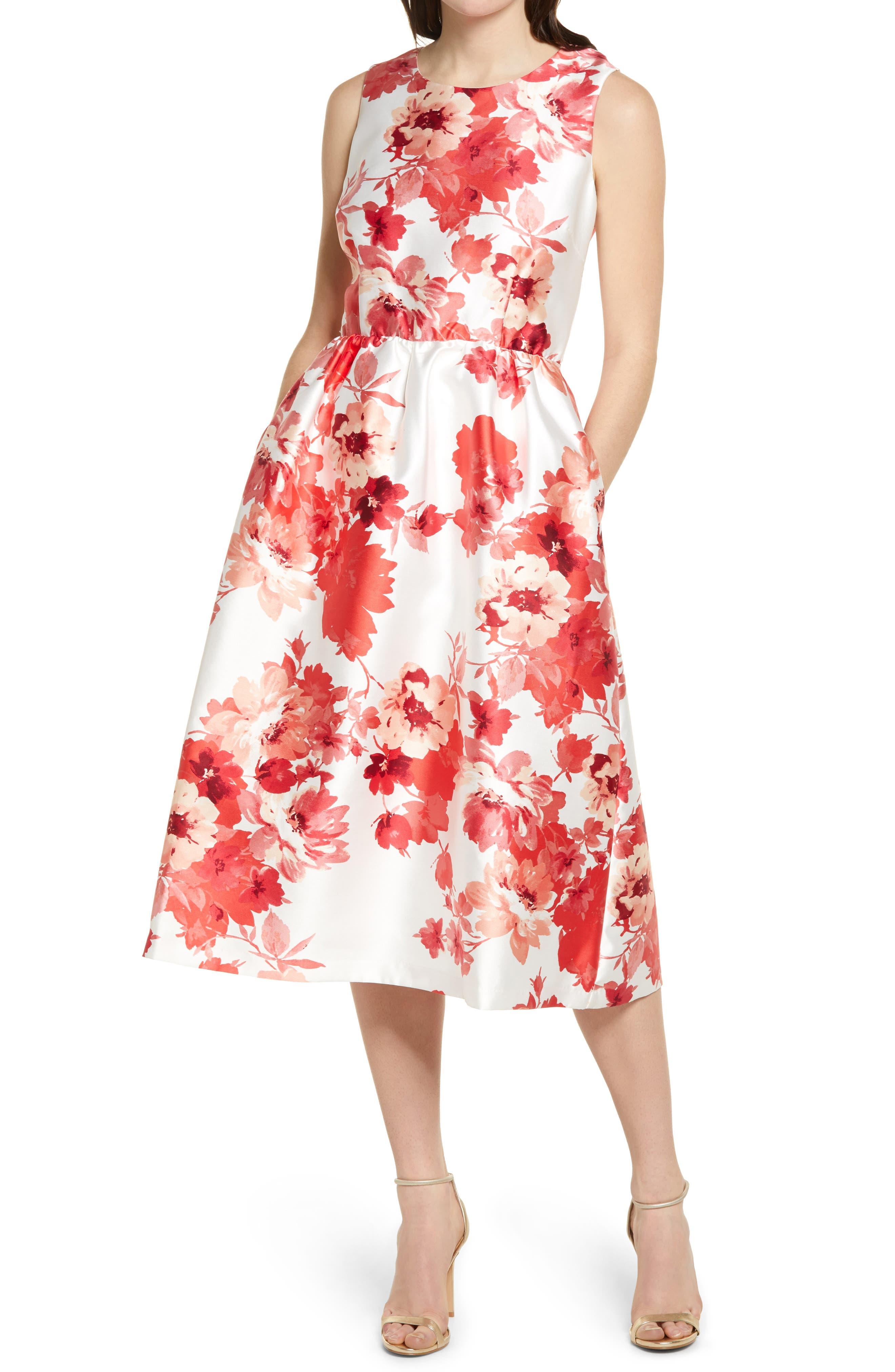 Floral Mikado Fit & Flare Dress