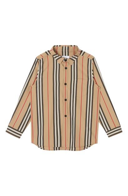 Burberry Kids' Icon Stripe Cotton-poplin Shirt In Beige