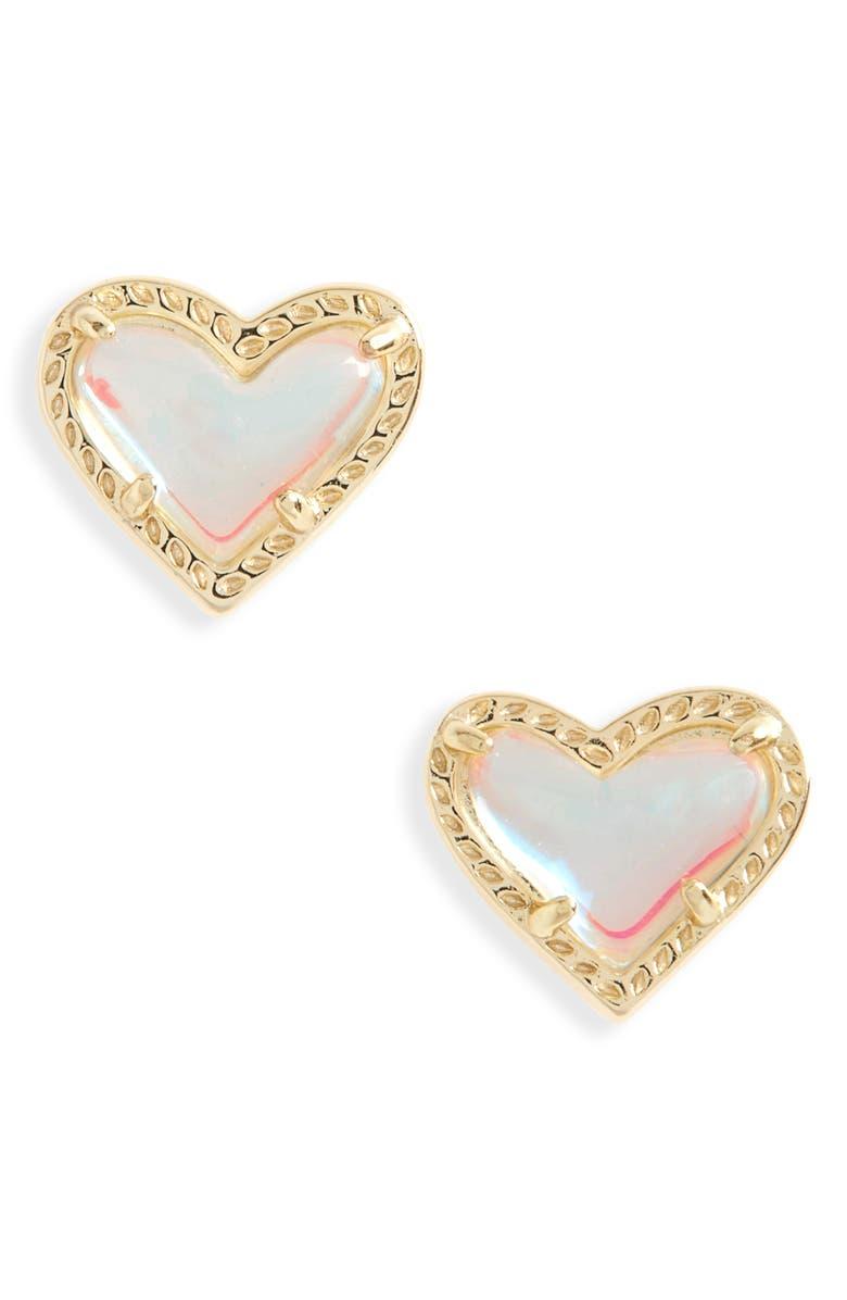 KENDRA SCOTT Ari Heart Stud Earrings, Main, color, DICHROIC GLASS