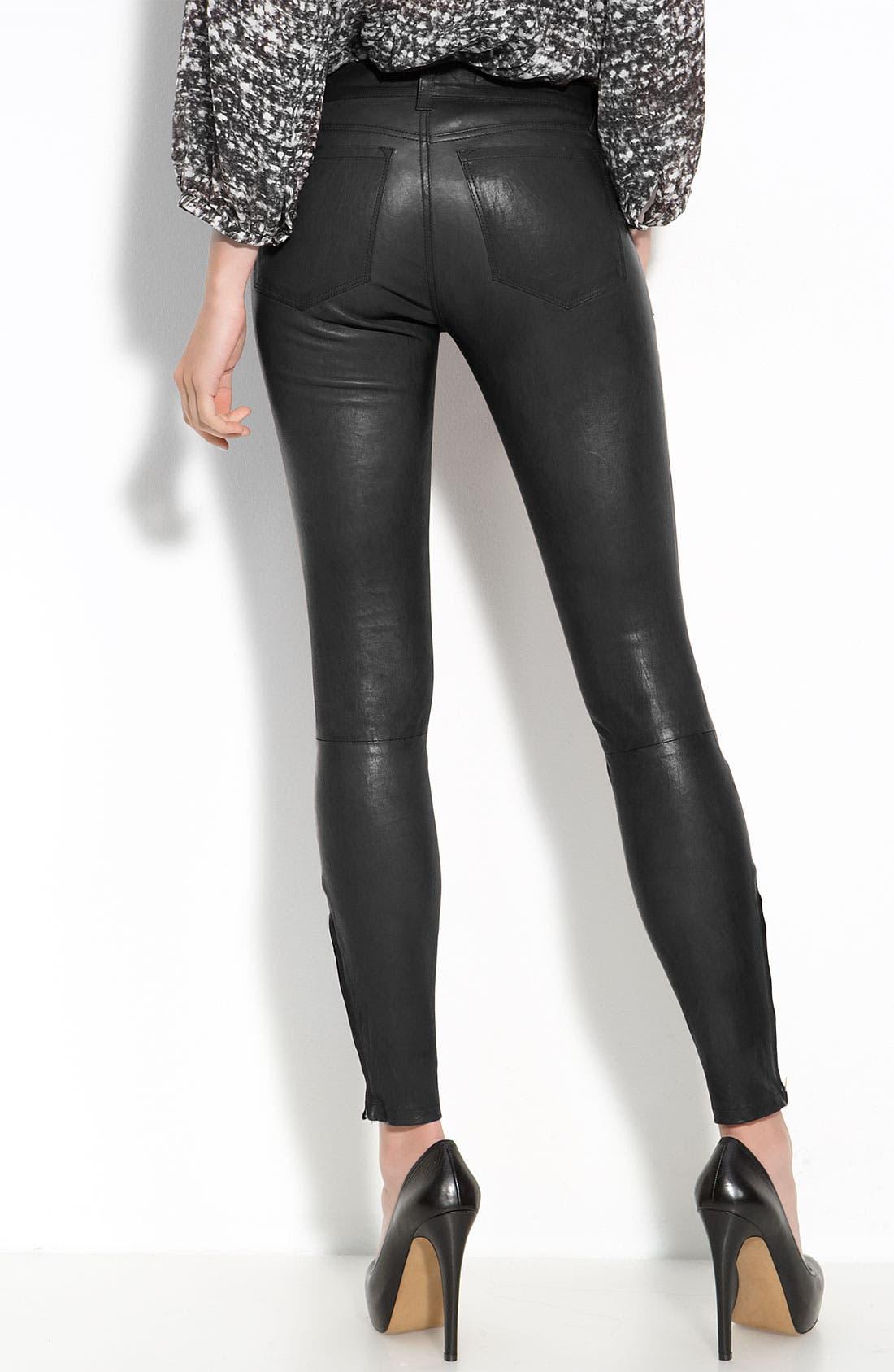 ,                             '8001' Lambskin Leather Pants,                             Alternate thumbnail 14, color,                             001