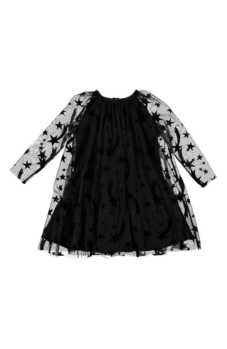 STELLA MCCARTNEY KIDS Stars Long Sleeve Tulle Dress, Main, color, BLACK
