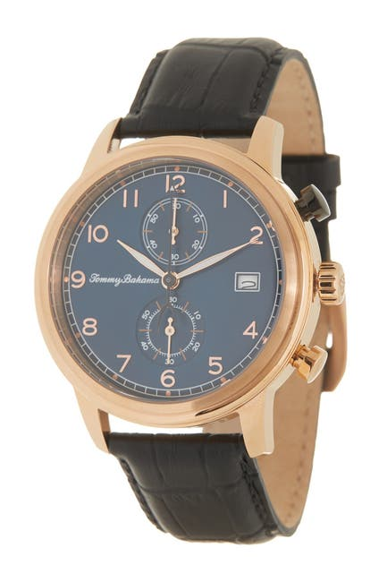 Image of Tommy Bahama Men's Riviera Chronograph Leather Strap Watch, 44mm