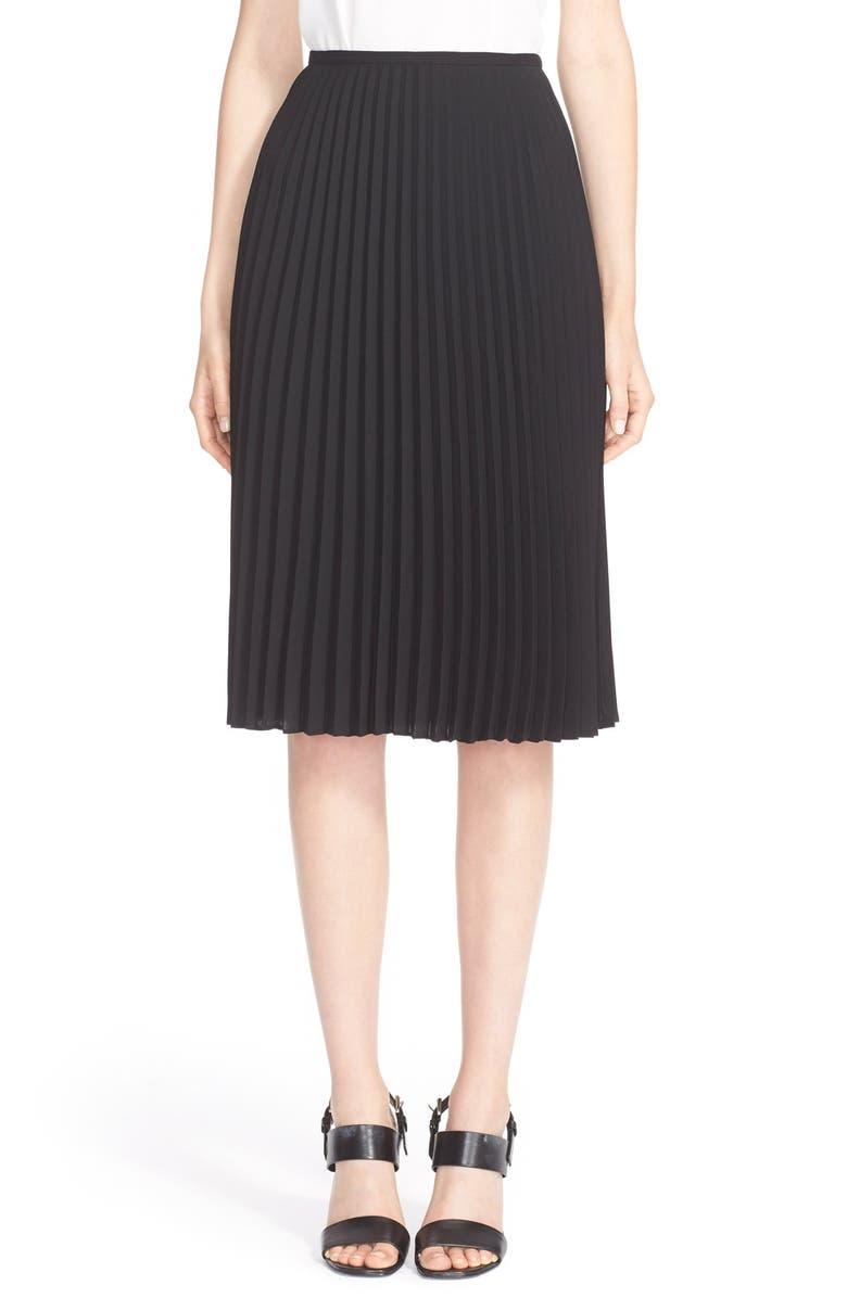 MICHAEL KORS Pleat Techno Georgette Skirt, Main, color, 001