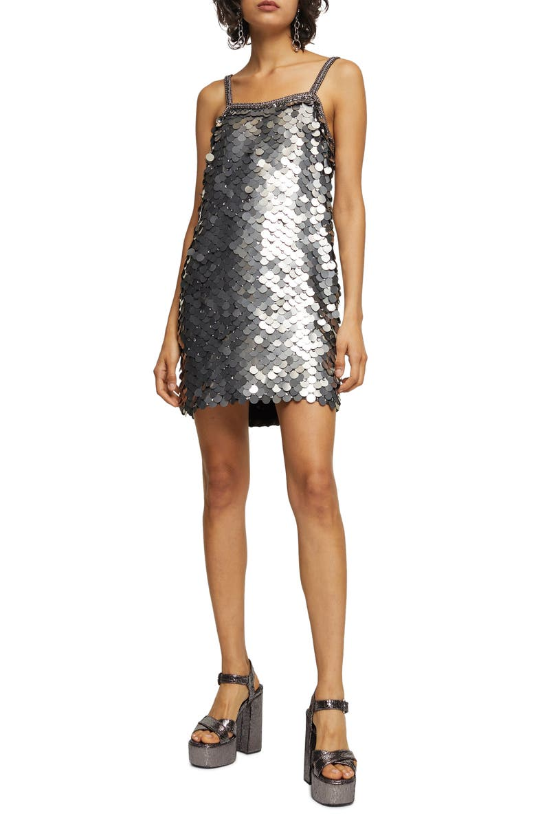 TOPSHOP Sequin Slipdress, Main, color, SILVER