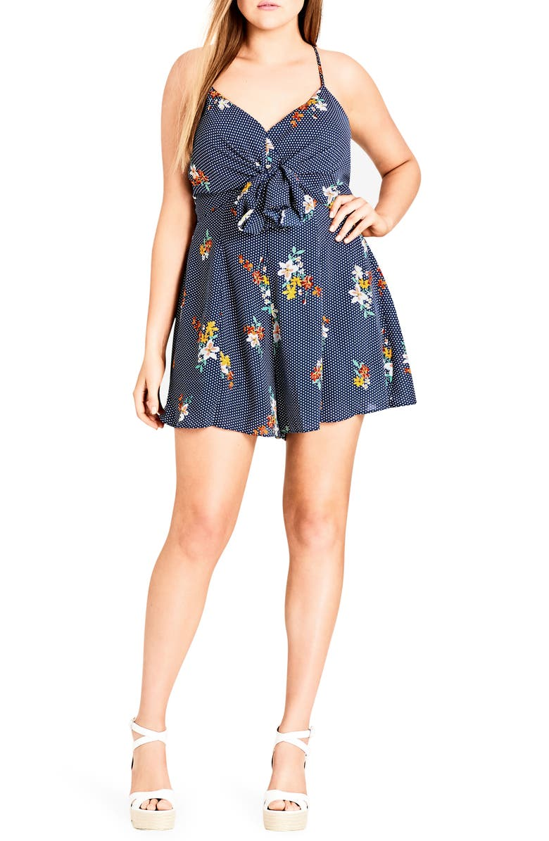 CITY CHIC Strappy Floral Romper, Main, color, SPOT THE FLORAL