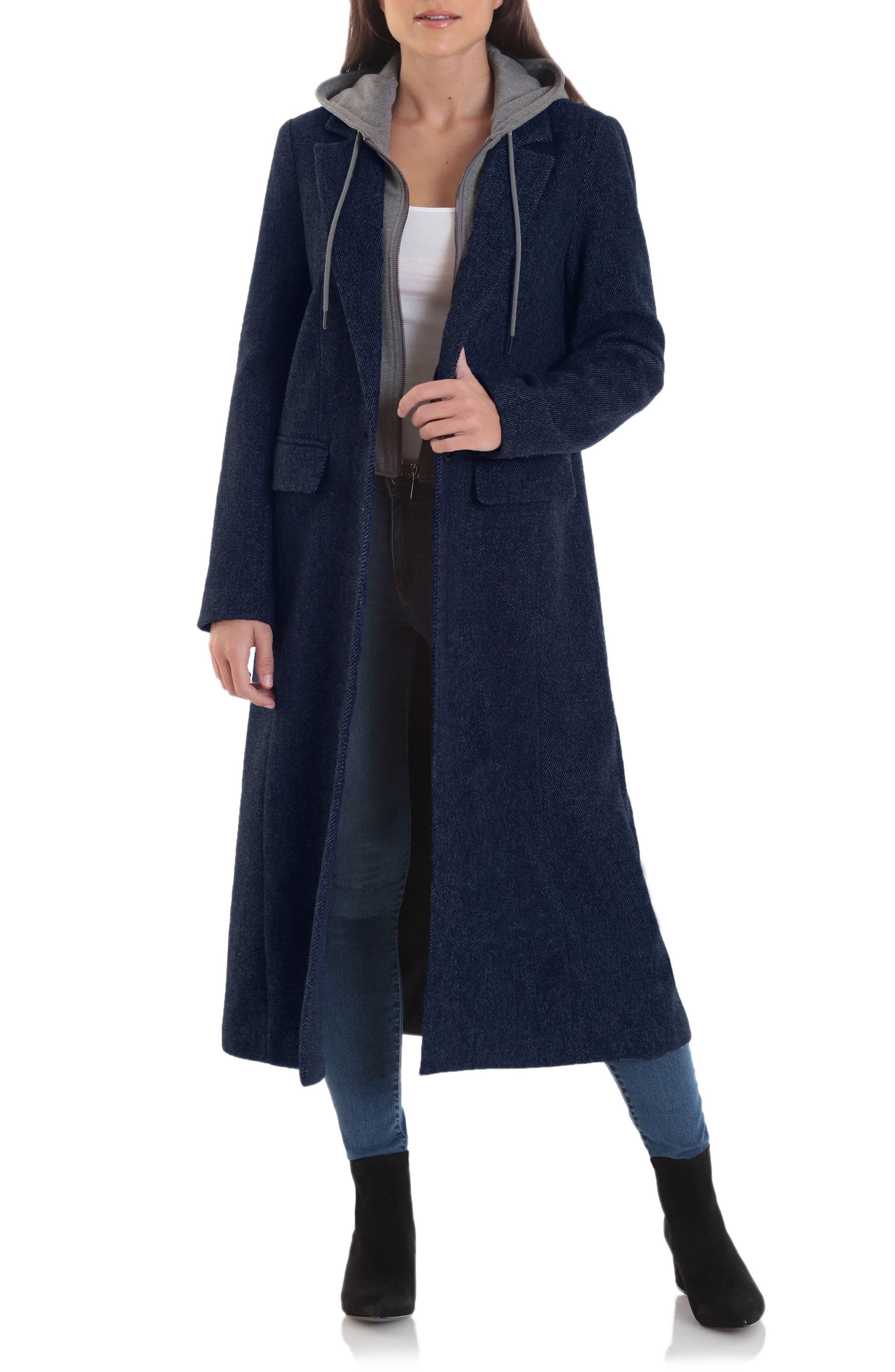 Avec Les Filles Moto Wool Blend Coat with Removable Hooded Bib   Nordstrom