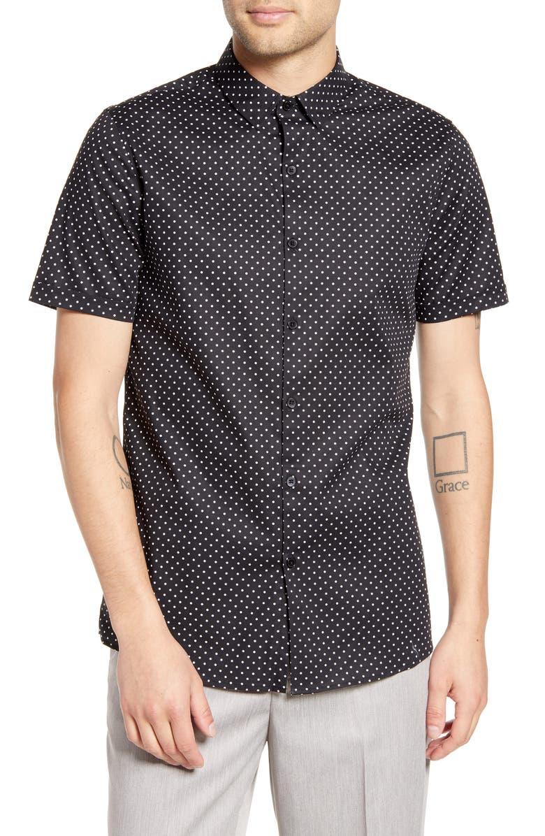 TOPMAN Slim Fit Dot Print Short Sleeve Button-Up Sport Shirt, Main, color, BLACK MULTI