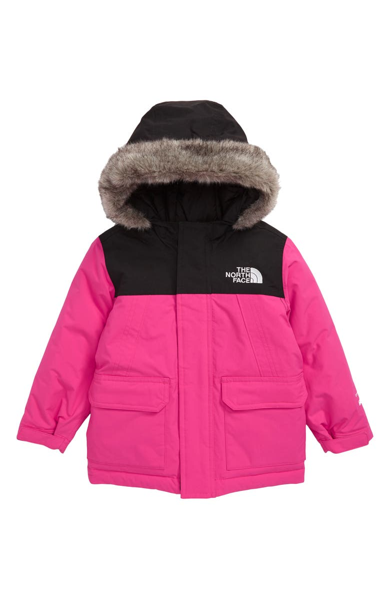 THE NORTH FACE McMurdo Waterproof 550 Fill Power Down Parka with Faux Fur Trim, Main, color, MR. PINK