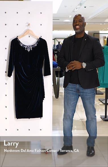 Beaded Side Ruched Velvet Cocktail Dress, sales video thumbnail