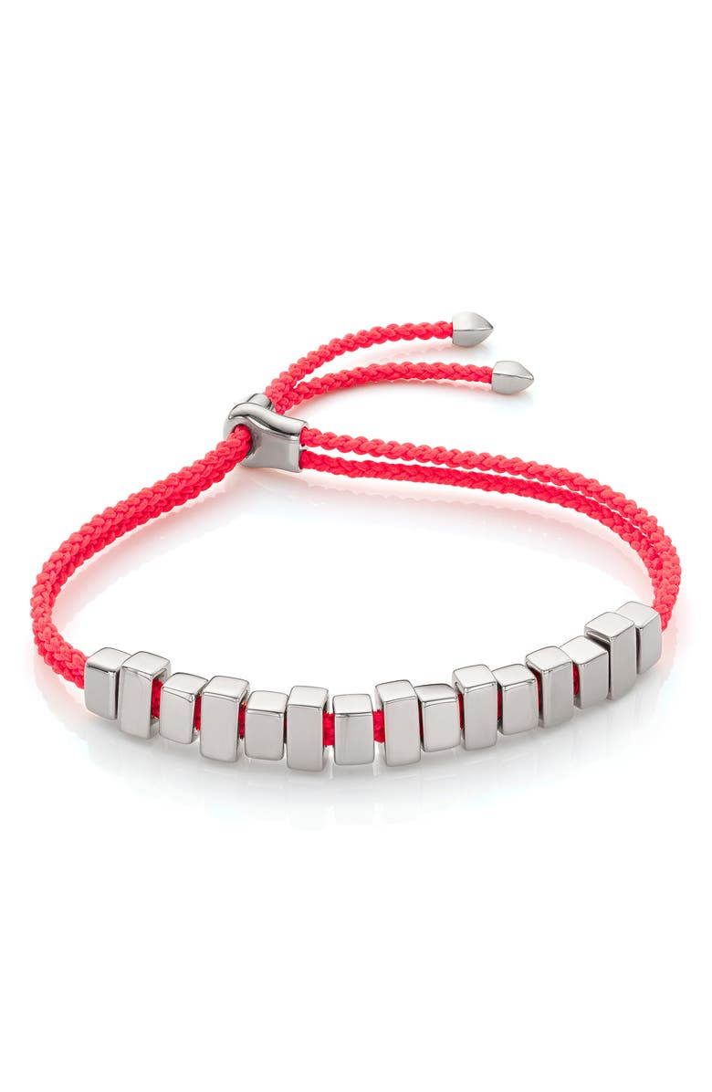 MONICA VINADER Linear Ingot Friendship Bracelet, Main, color, SILVER/ FCO