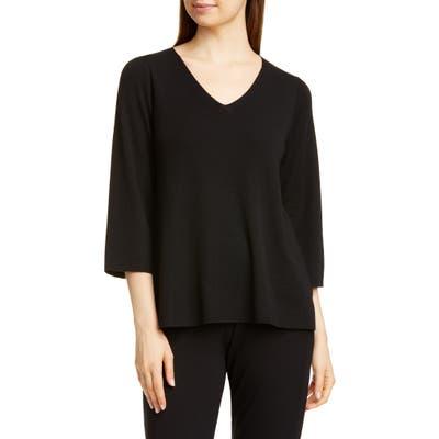 Eileen Fisher V-Neck Merino Wool Top, Black