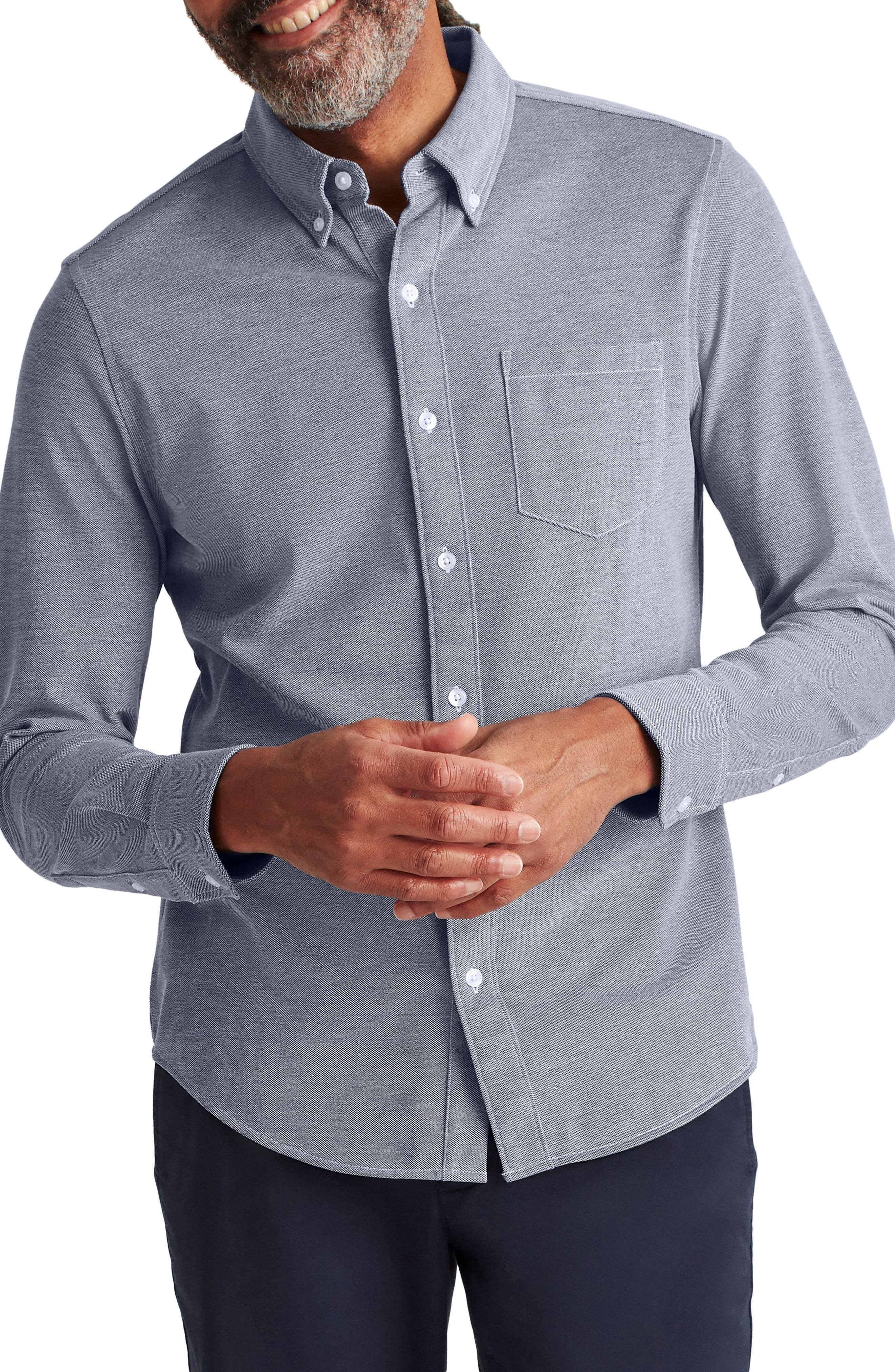 Slim Fit Knit Button-Down Shirt