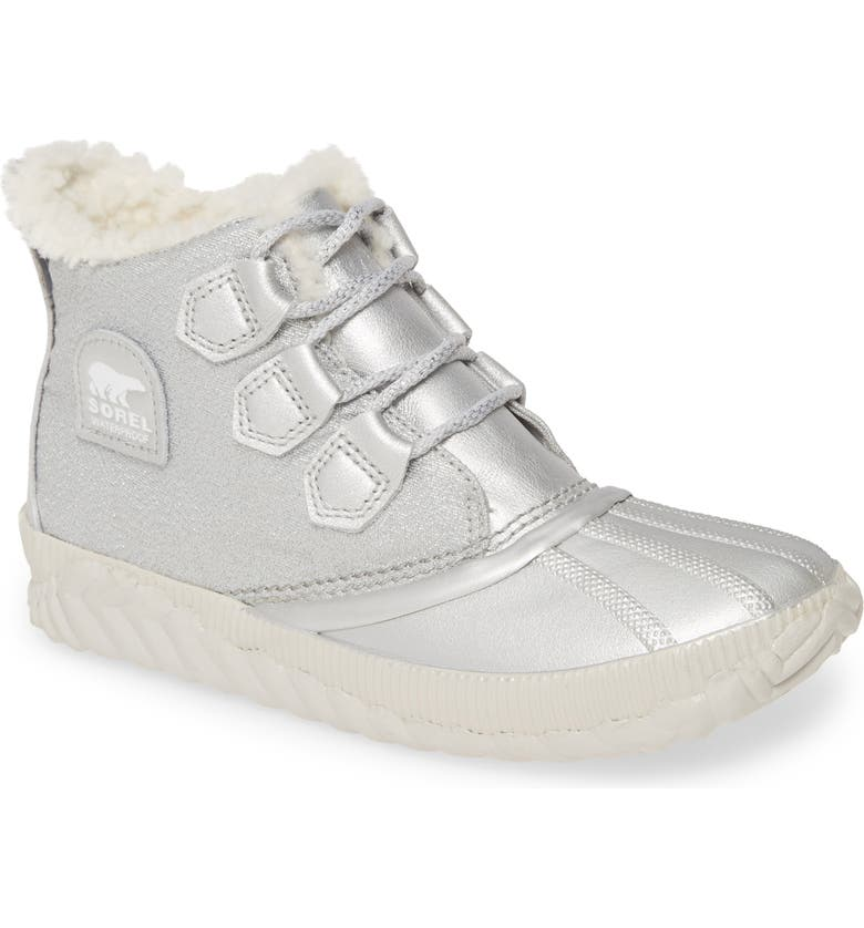 SOREL x Disney 'Frozen' Out 'N About<sup>™</sup> Waterproof Faux Shearling Bootie, Main, color, PURE SILVER LEATHER