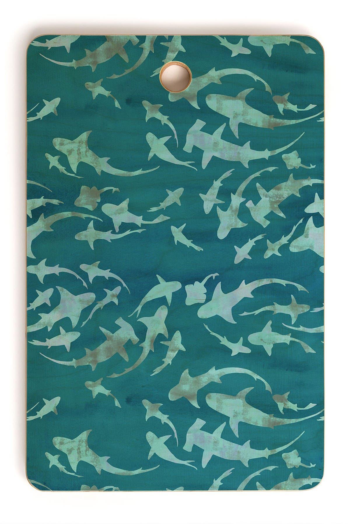 Image of Deny Designs Schatzi Brown Sharky Aqua Rectangle Cutting Board