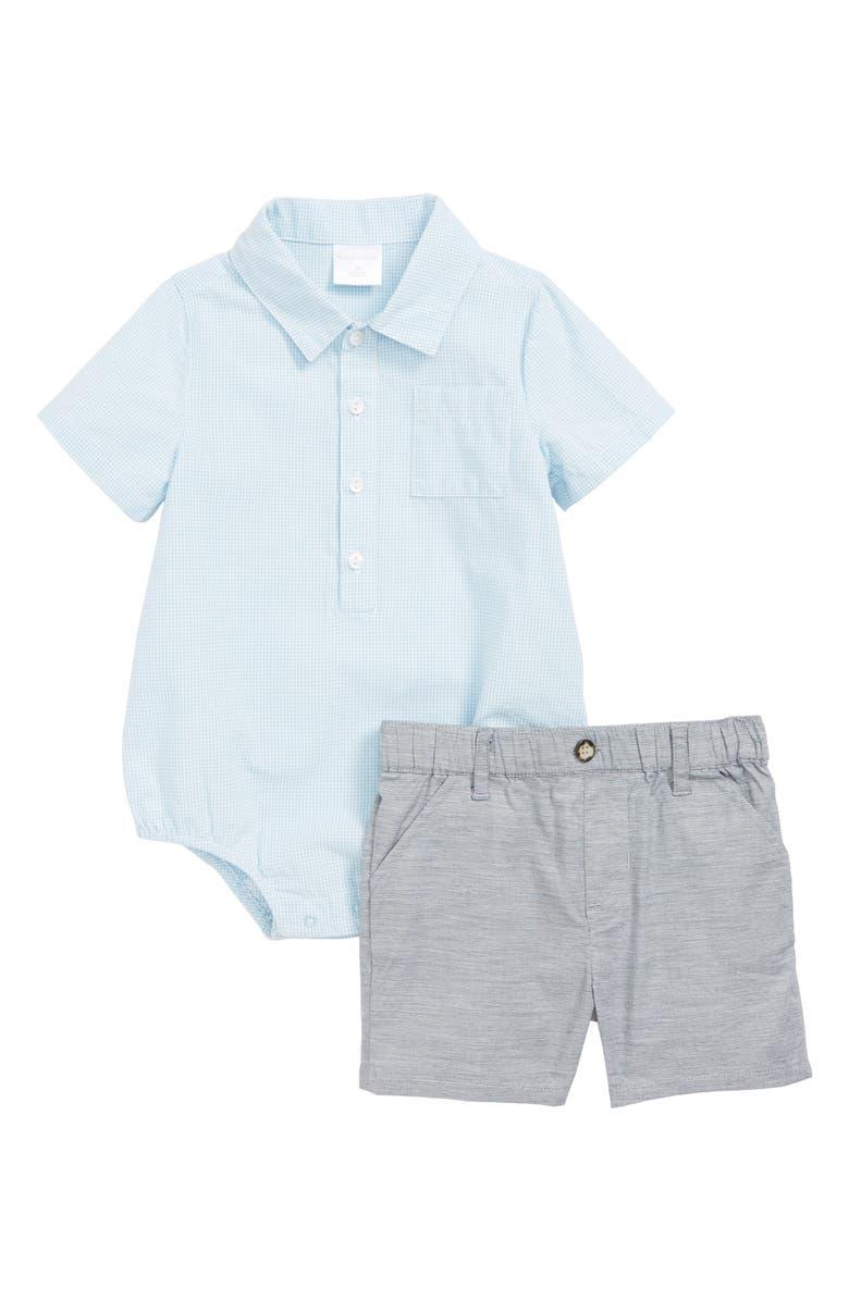 NORDSTROM BABY Bodysuit & Shorts Set, Main, color, WHITE- BLUE MINI CHECK
