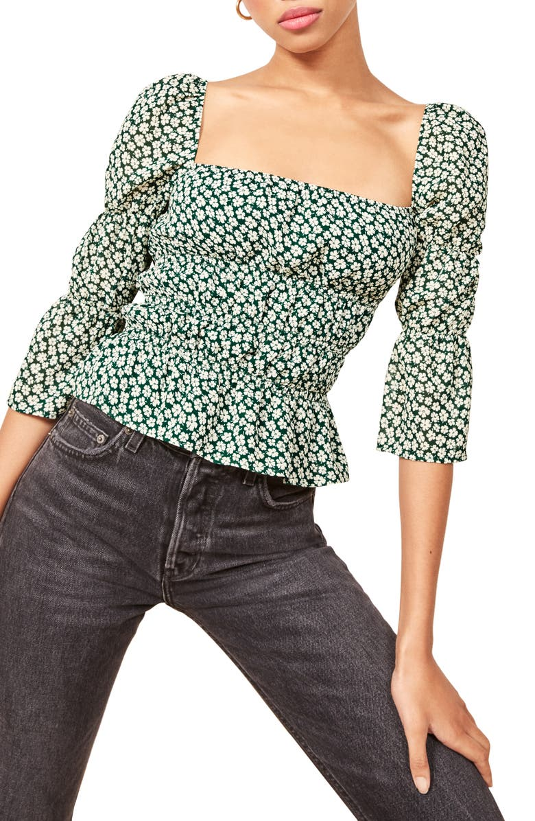 REFORMATION Ayla Square Neck Blouse, Main, color, 300