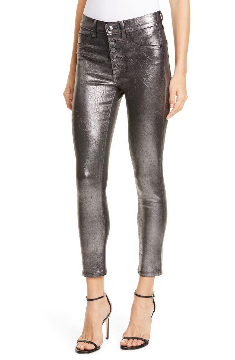 VERONICA BEARD Debbie Metallic Button Fly Skinny Jeans, Main, color, GUNMETAL
