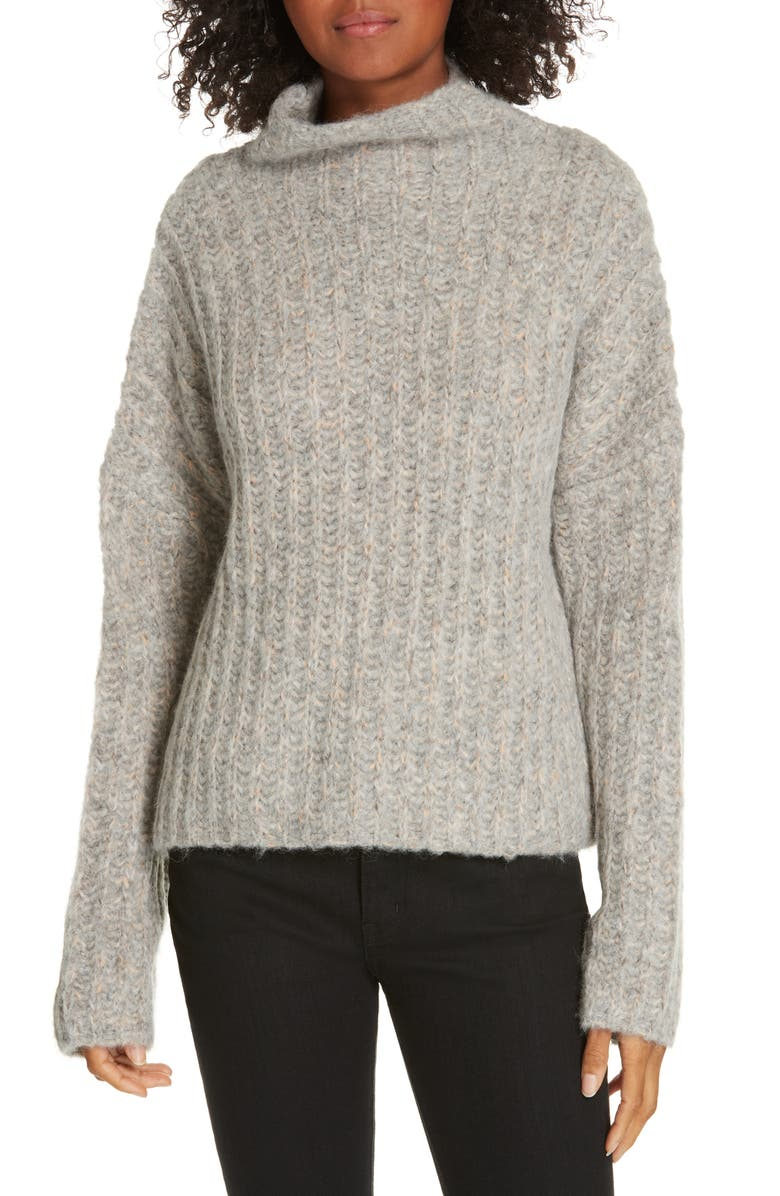 LA LIGNE Funnel Neck Sweater, Main, color, GREY/ NAVY