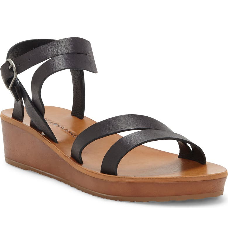 LUCKY BRAND Hecilia Wedge Sandal, Main, color, BLACK LEATHER