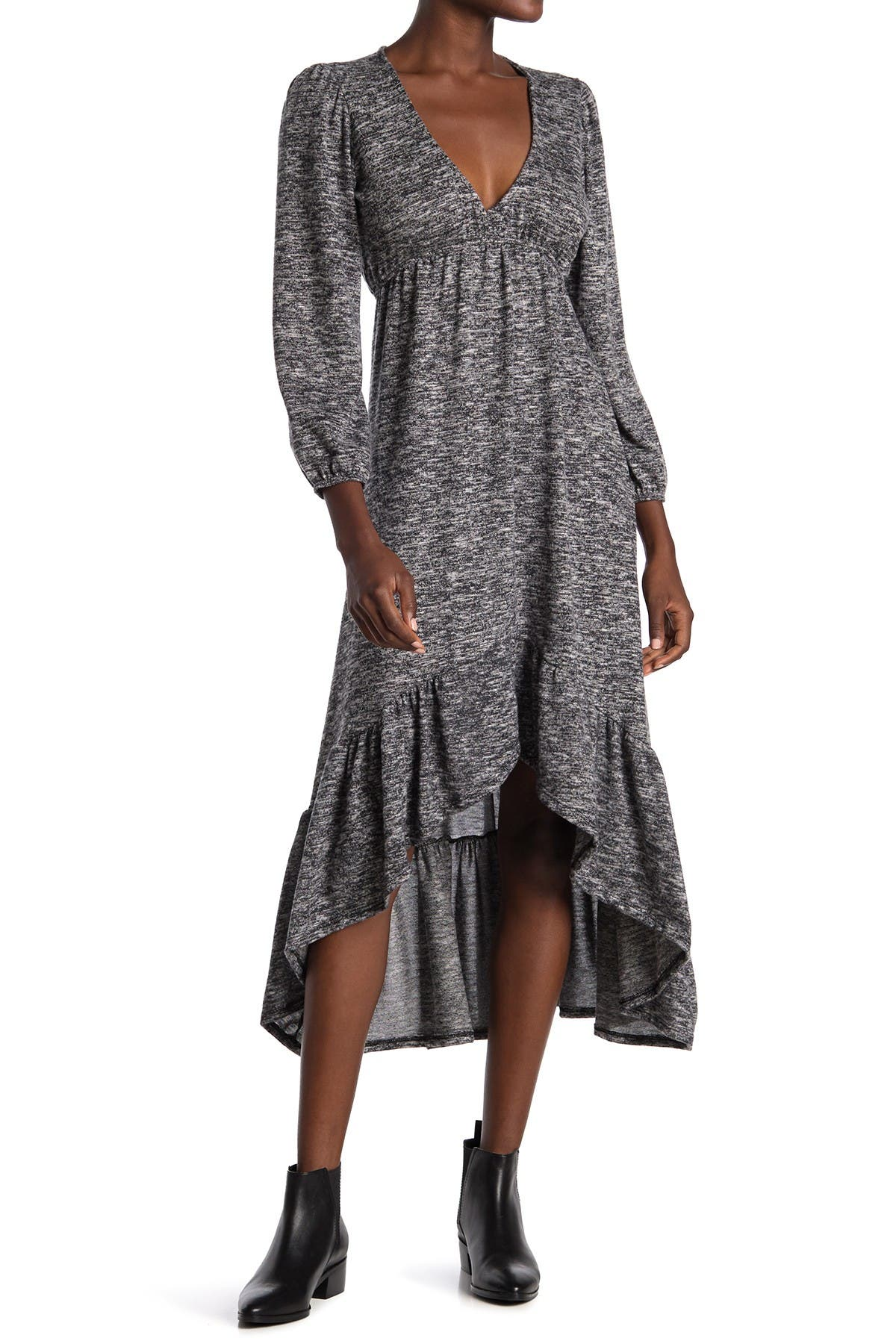 Image of Velvet Torch Heathered V-Neck Ruffled High/Low Sweater Dress