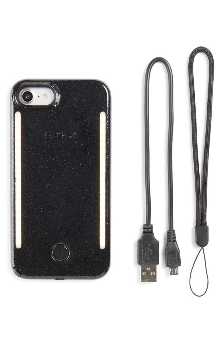 LUMEE Duo LED Lighted iPhone 7/8 & 7/8 Plus Case, Main, color, BLACK GLITTER
