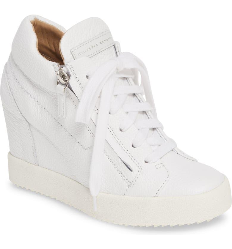 GIUSEPPE ZANOTTI High Top Wedge Sneaker, Main, color, WHITE