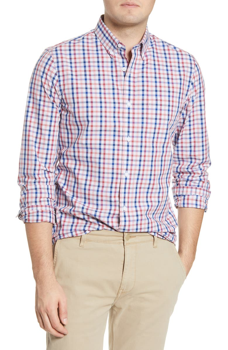 1901 Slim Fit Stripe Button-Down Shirt, Main, color, GREY RED AMERICANA CHECK