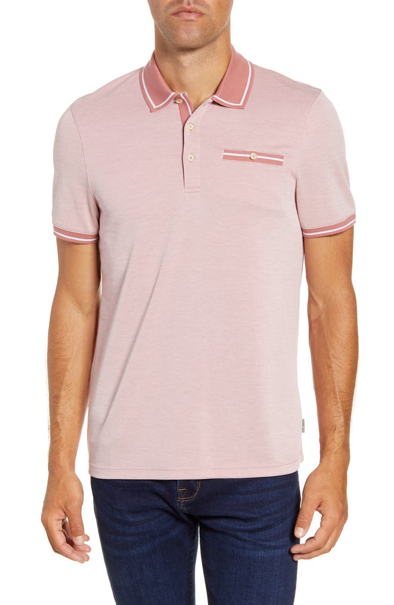 TED BAKER LONDON Mightie Slim Fit Polo Shirt, Main, color, MID PINK