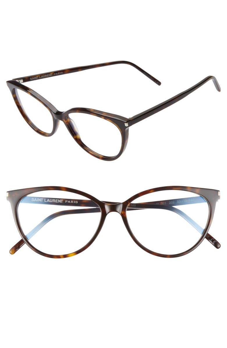 SAINT LAURENT 53mm Optical Glasses, Main, color, HAVANA