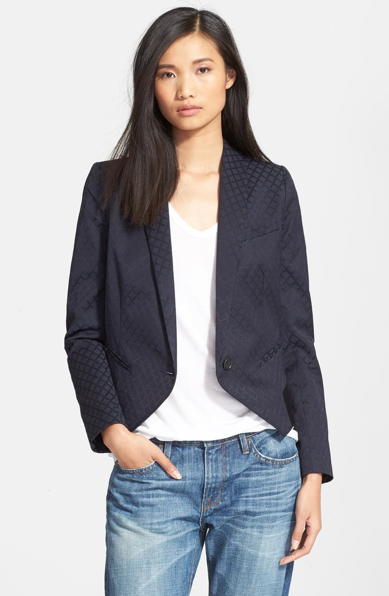 SMYTHE 'Anytime' One-Button Foulard Jacquard Jacket, Main, color, 410