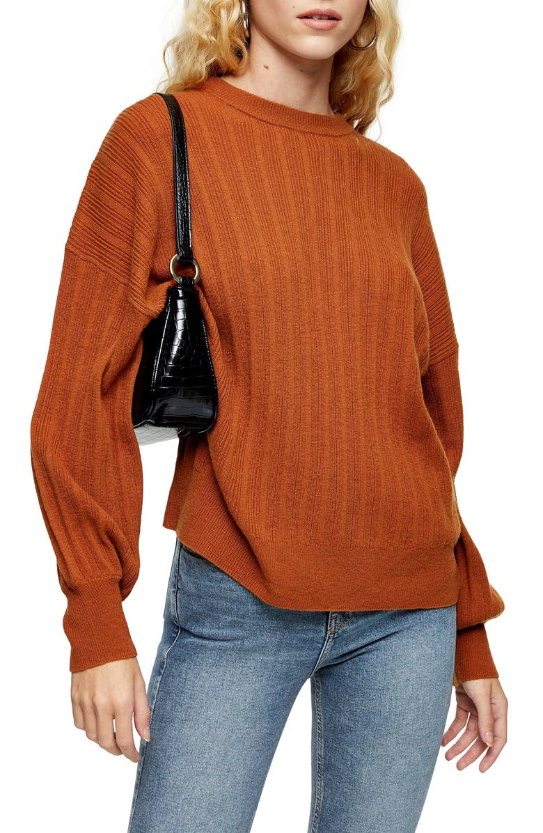 TOPSHOP Drop Armhole Crew Sweater, Main, color, BROWN