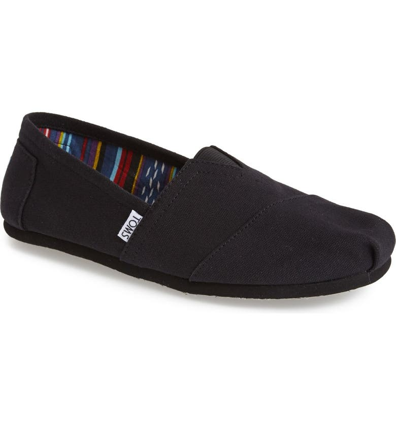 TOMS Classic Canvas Slip-On, Main, color, BLACK/ BLACK