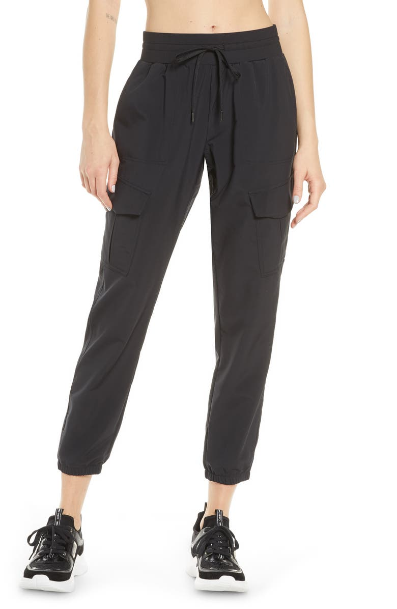 ZELLA Getaway Cargo Pants, Main, color, BLACK