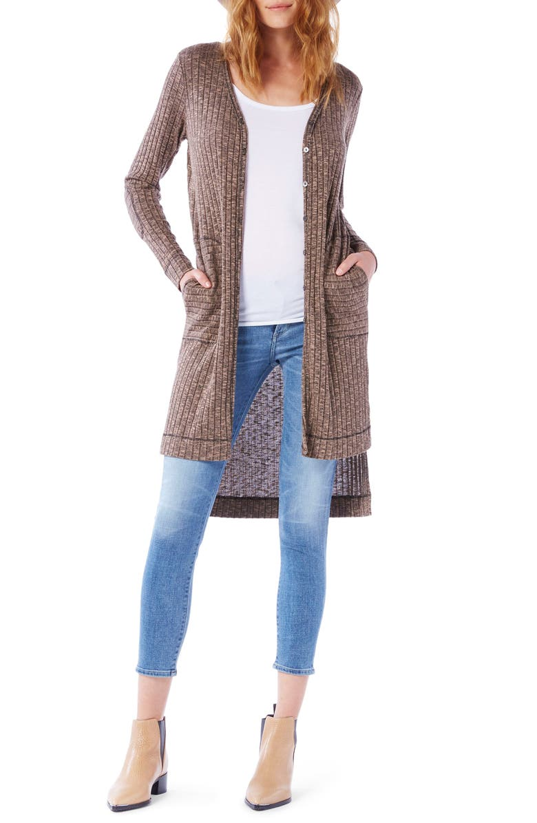 MICHAEL STARS Elbow Patch Long High/Low Cardigan, Main, color, 650