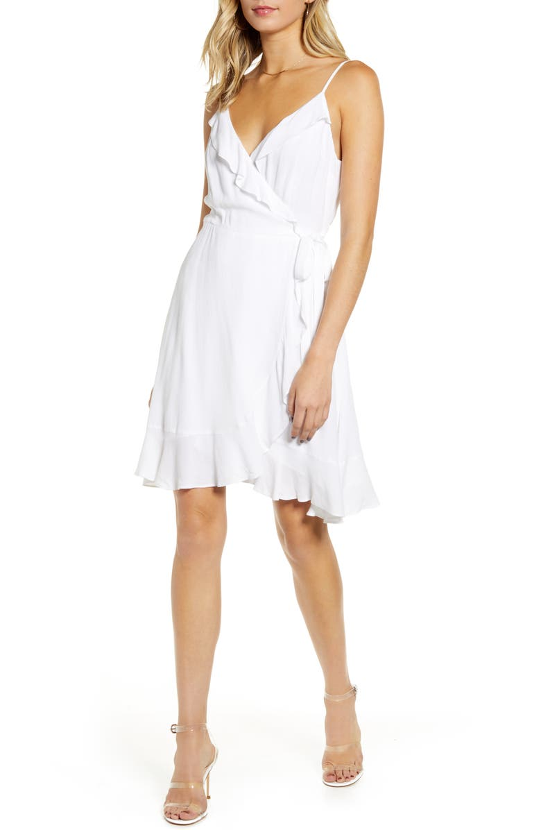 CUPCAKES AND CASHMERE The Catana Wrap Sundress, Main, color, WHITE