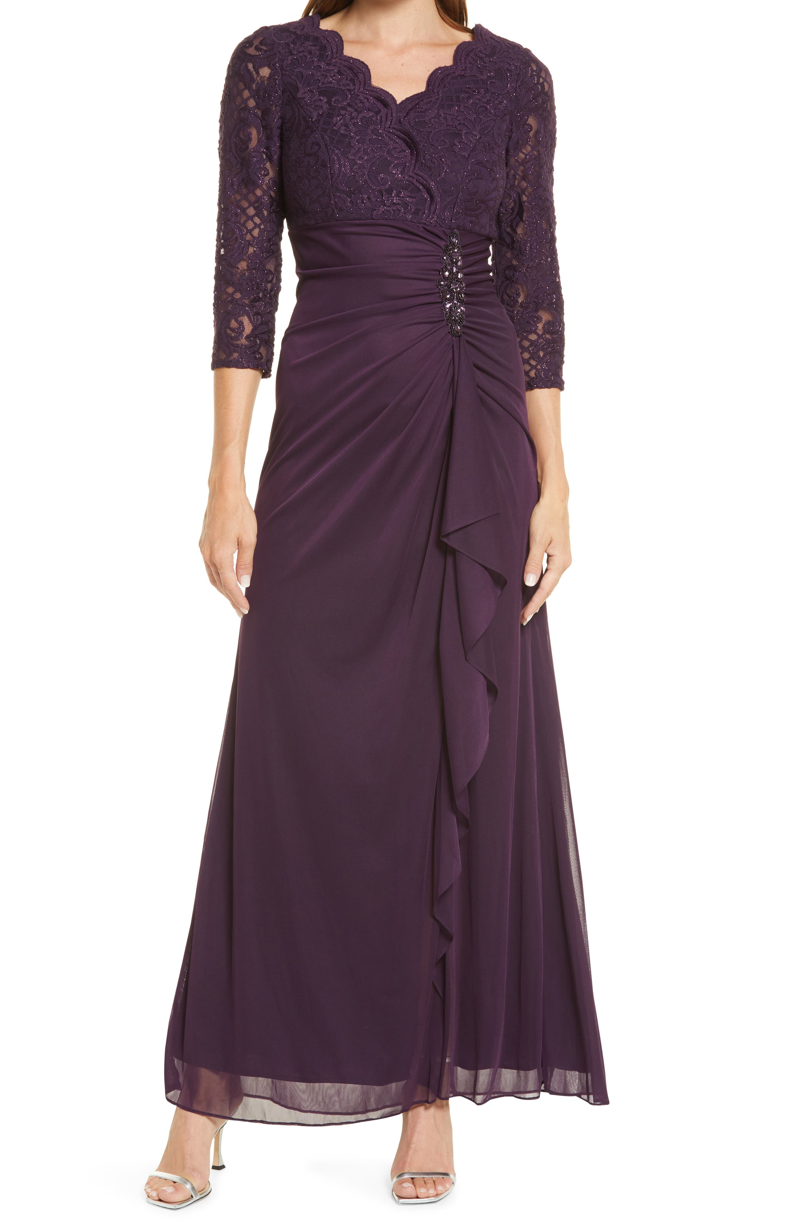 Sequin Lace A-Line Gown