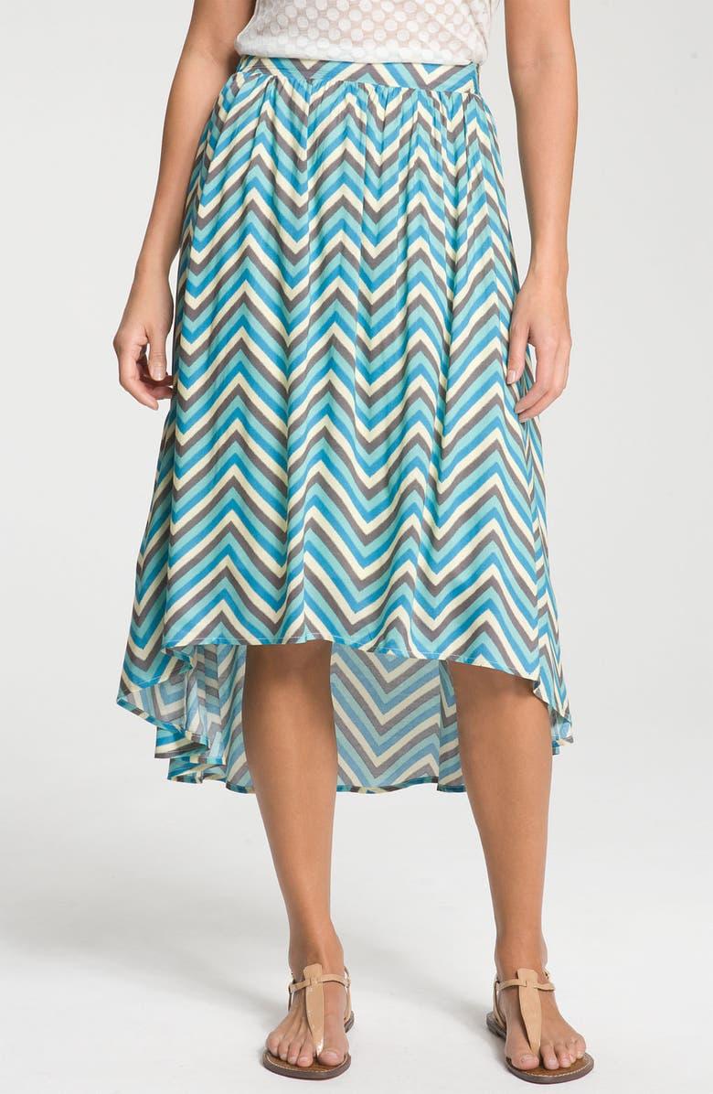 BOBEAU Chevron Stripe Skirt with High/Low Hem, Main, color, 440