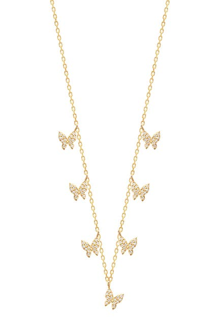 Image of Gabi Rielle 14K Yellow Gold Vermeil Pave CZ Butterfly Charm Necklace