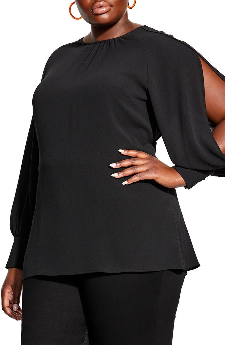 CITY CHIC Split Sleeve Blouse, Main, color, BLACK