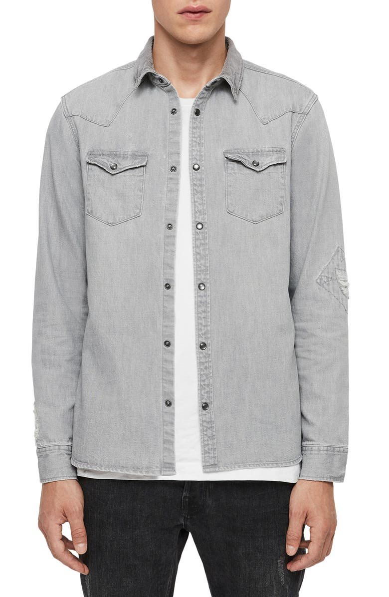 ALLSAINTS Giro Slim Fit Distressed Cotton Snap Front Shirt, Main, color, GREY