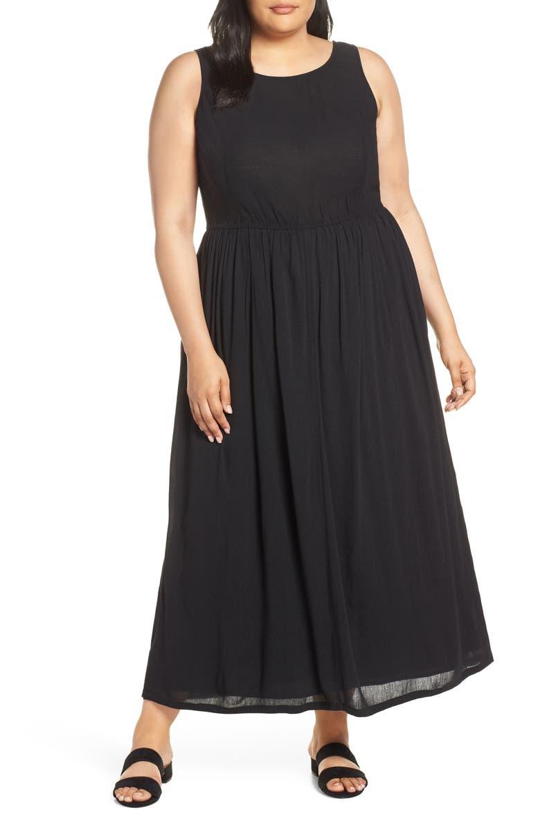 CASLON<SUP>®</SUP> Smocked Cotton Maxi Dress, Main, color, 001