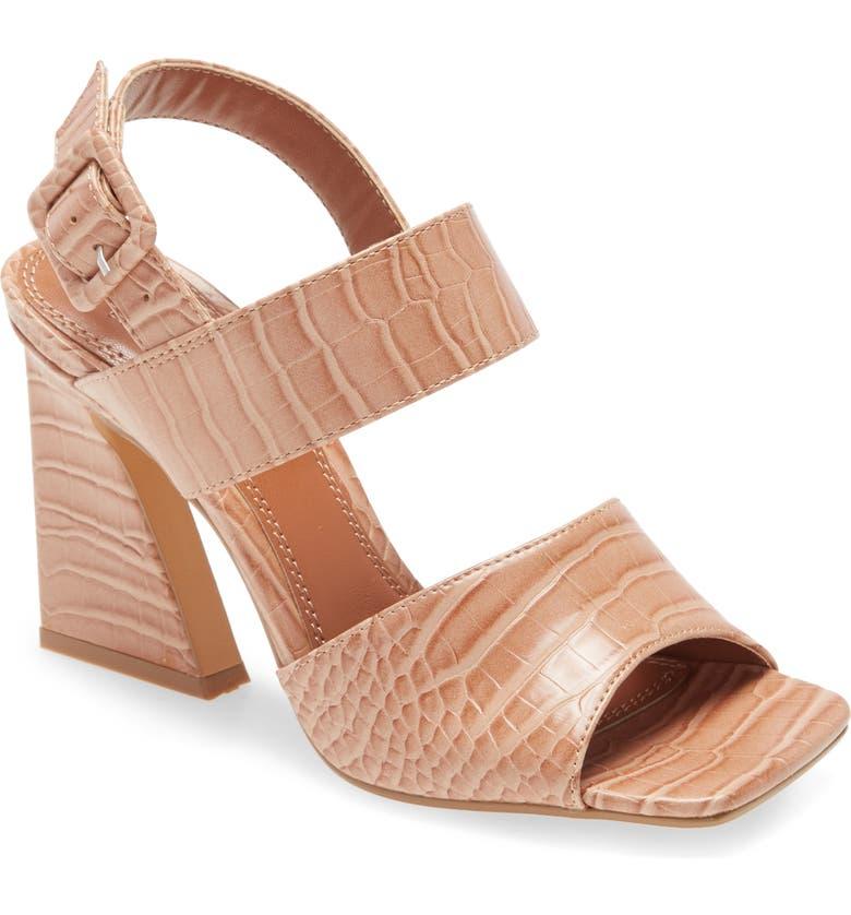 TOPSHOP Natasha Crocodile Embossed Flare Heel Sandal, Main, color, 250