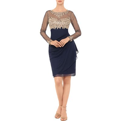 Xscape Golden Embroidered Long Sleeve Cocktail Dress, Blue