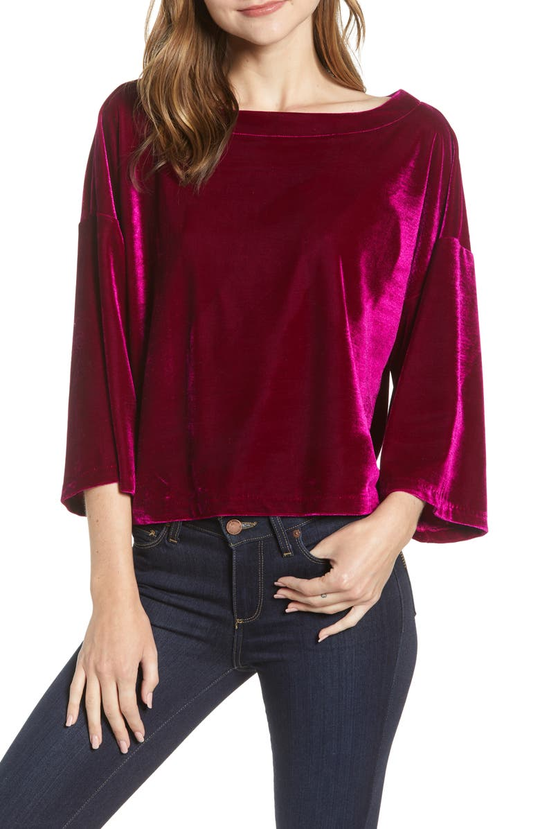 CUPCAKES AND CASHMERE Velvet Dolman Top, Main, color, FUCHSIA