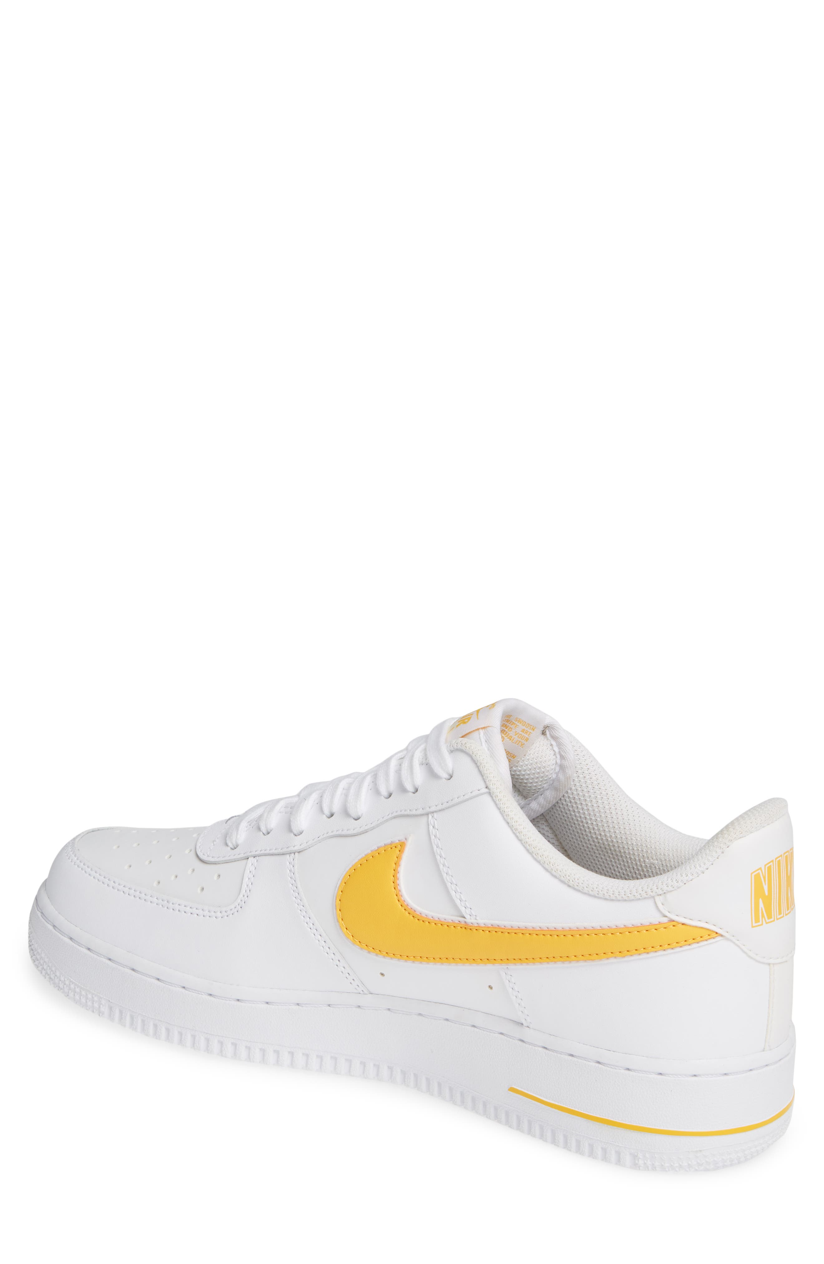 ,                             Air Force 1 '07 3 Sneaker,                             Alternate thumbnail 2, color,                             WHITE/ UNIVERSITY GOLD